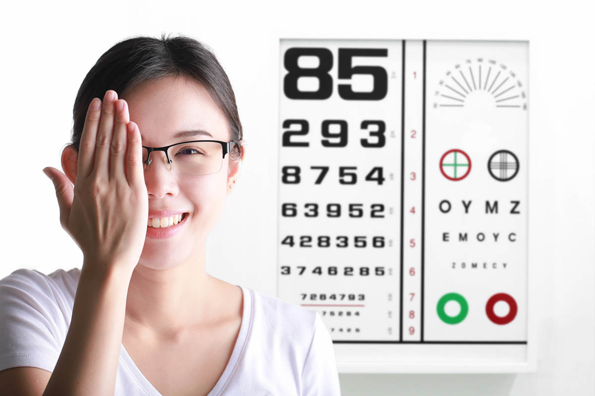 Young woman on eyesight test